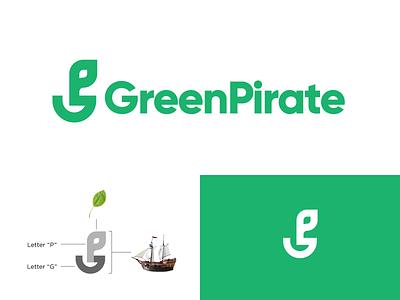 Green Pirate rebranding rebrand green logo greenpeace monogram logo monogram pirate typography design branding logo