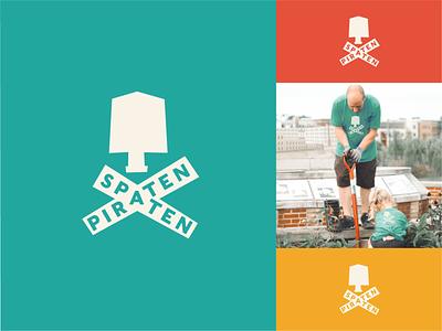 Spaten Piraten gardening pirate green logo design branding logo