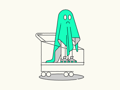 Shopping ghost prague green ghost shopping vector marekehrenberger creative ilustrace illustrator illustration