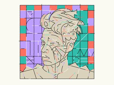 Tome Prince prague illustration art funky color retro face dj music portrait vector marekehrenberger illustrator illustration