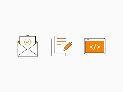 Features Icons mail content website web colour icons illustration ui