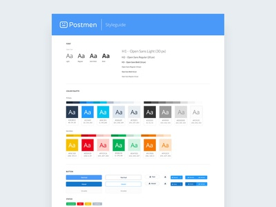 Postmen - UI Style guide website web ui styleguide style interface guidelines guide form colour buttons