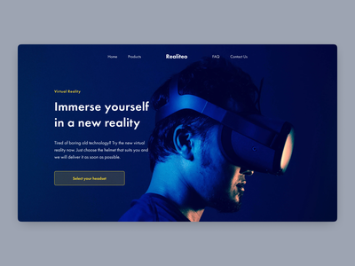 Virtual Reality - Daily UI #73 dark theme dailyui073 saas landing banner virtual reality dark ui dailyui daily ui dailyuichallenge daily 100 challenge wordpress design dizzarro design