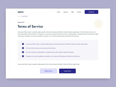 Terms of Service - Daily UI #89 ui design dailyui089 terms of service ui webdev ecommerce brand identity daily ui dailyui wordpress development design dailyuichallenge daily 100 challenge dizzarro design