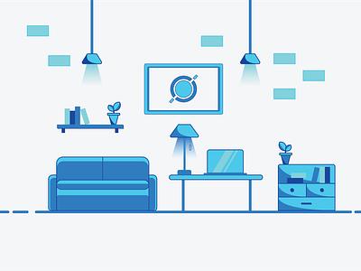 Blue Room minimal art laptop plants furniture lights roomdesign blue flatdesign adobe illustrator illustration illustrator