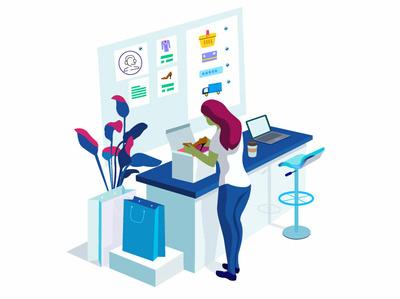 online purchases women illustration character design online marketing concept illustrator flower illustration bag car illustration table laptop room illustration marketing online shoping illustration