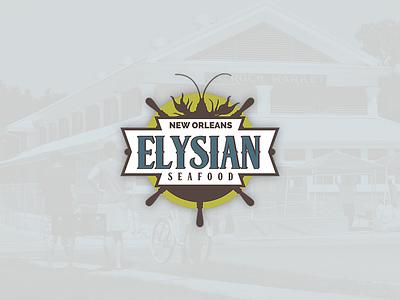Elysian Seafood badge vintage classic lobster restaurant market roch saint elysian louisiana logo seafood