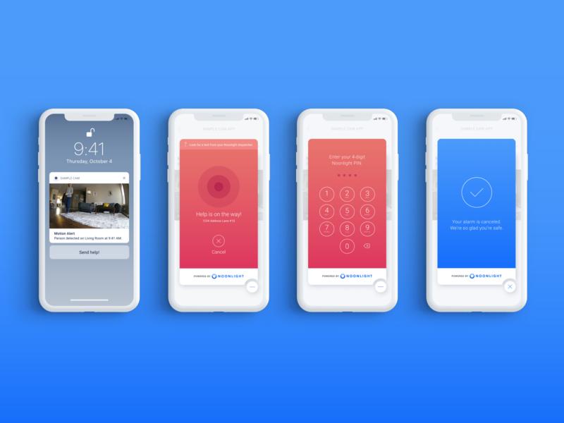Silent Home Alarm - iOS Widget monitoring keypad button calm minimize modal gradient notification lockscreen confirmation pin color blocking red blue cancel alarm ui ux widget ios