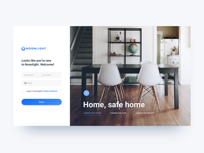 Account Creation web oauth ux ui form monitoring home safety blue integration connected smarthome white simple clean desktop login sign up sign in authentication