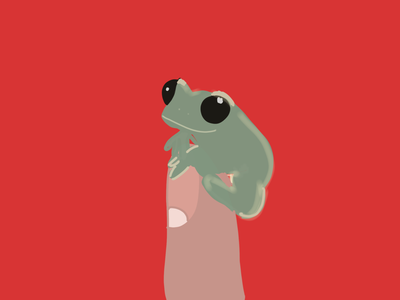 Froggy and the finger design illustrator illustrationoftheday minimal illustration