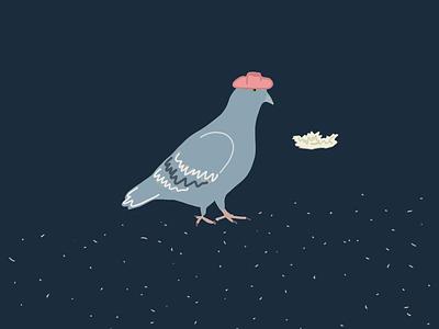 The pigeon and his hat design illustrator minimal illustrationoftheday illustration
