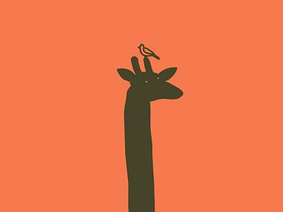 The giraffe 🦒 y el pajarito design flat illustrator illustrationoftheday minimal illustration