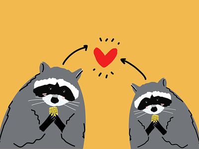 Raccoon 🦝 ❤️ 100dayofillustration flat illustrator illustrationoftheday minimal illustration
