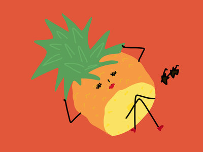La piña creida fruitillustration flat minimal illustrator design illustrationoftheday illustration