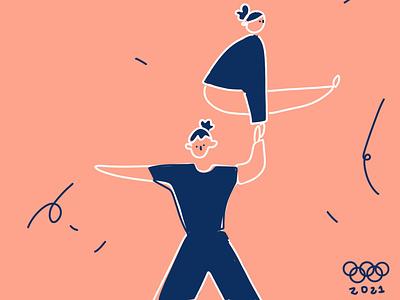 Acrobatic Gymnastics acrobats sport olympics illustration illustrator illustrationoftheday minimal branding