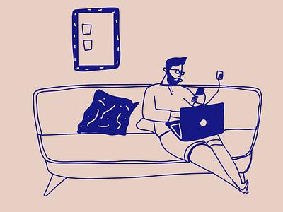 Reddit lover lookingatthephone phone hipster illustrator flat design illustration illustrationoftheday minimal branding