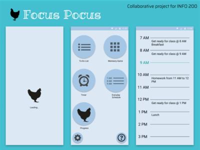 Focus Pocus (Throwback Shot) info design app productivity info200 ui