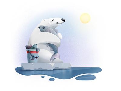 Polar Bear #2 - True Love bear polar bear polarbear ice freedom 2d illustration fisherman fish sunny deep sea water sky illustration art character design procreateapp procreate art procreate app procreate illustration
