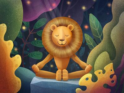 Deep meditation lion jungle zen meditation procreateapp illustration art 2d illustration illustraion procreate