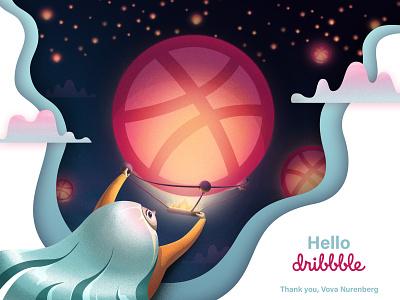 First Shot! Hello Dribbble charachter firstshoot hello dribble photoshop illustrator vector illustration