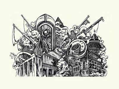 Inktober Day 1. New Crobuzon City city sci-fi steampunk inktober 2018 ink illustration ink pen