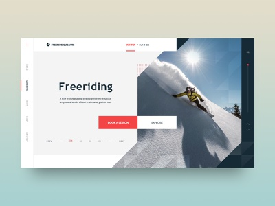 Freeriding freedom extreme sport snowboard sketch clean minimal grid layout ux ui ui  ux webdesign web sketch app
