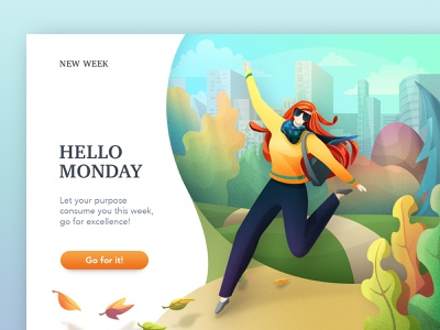 Hello Monday web girl illustration work ui webillustration motivation girl character color autumn leaves autumn city illustration