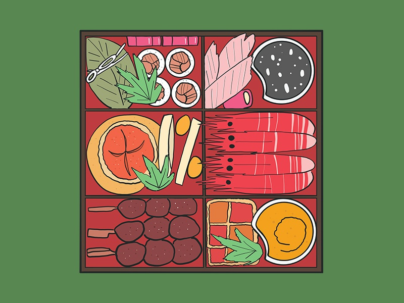 Traditional Japanese Bento Box japanese food food icon food art anime japanese japan coloful flat design vector illustration cute art