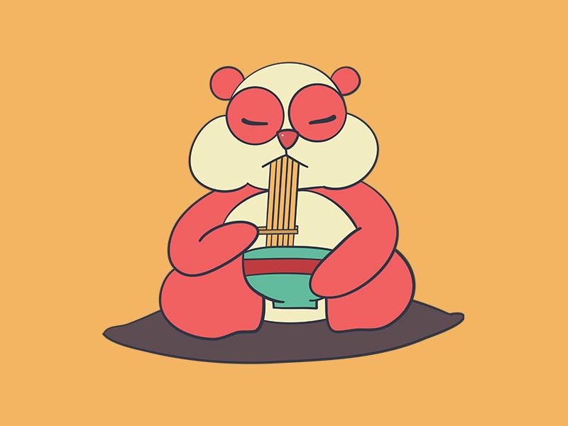 Cute Panda Eating A Bowl Of Ramen kawaii food art digital illustration coloful design flat cute art vector illustration