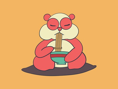 Cute Panda Eating A Bowl Of Ramen