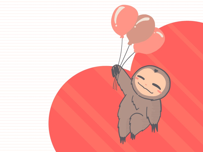 Just Hanging cute illustration cute animals sloths kawaii digital illustration coloful design cute art flat vector illustration