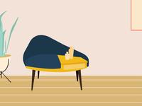 mid century furniture design illustration