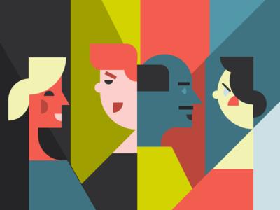 Collaborate talking people triad shapes geometric graphic vector flat illustration phoenix arizona aiga collaboration