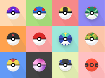 Pokeball Icons flat design pokeball pokemon icon illustration