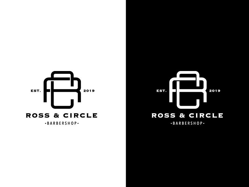 Ross & Circle Barbershop Branding Project ui  ux ux vector illustration brandig ui logo
