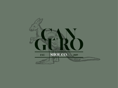 Cabguro | Shoe Co.| Logo Design customsketch illustrator kangaroo type vintage logo branding logo specs