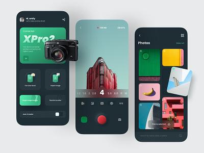 Fujifilm Cam Remote App Concept card camera concept fujifilm clean ios app design dark theme ui ux ui mobile design app