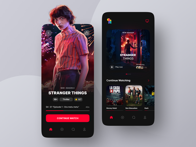 Movie Streaming App netflix dark ui streaming app streaming movie streaming movie app movie innovation ux ui mobile design app