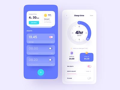 Alarm App Concept bedtime sleep clean alarm clock minimalist minimal innovation ux ui mobile design app