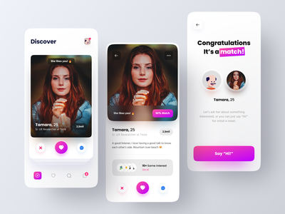 Dating App Concept messenger app message matching chatting finder datingapp tinder dating clean minimalist minimal innovation ux ui mobile design app