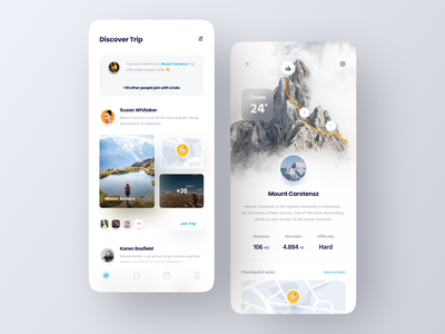 Hiking Trip App concept trip tracking climb mountain adventure explore hiking clean minimalist minimal ux ui mobile design app