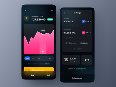 Crypto Exchange App dark ui ethereum bitcoin trade trading app crypto exchange crypto wallet cryptocurrency crypto financial fintech app finance finance app innovation ux ui mobile design app