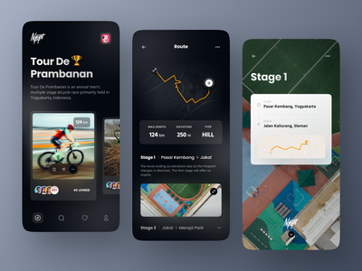 Ngepit - Cycling App Concept dark theme dark mode event workout app workout mapping maps ride app bike cycling bicycle app dark ui ux ui mobile design app