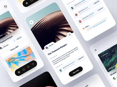 NFT Mobile App Concept shop store crypto bid auction marketplace nft cryptocurrency blockchain ethereum clean minimalist minimal ui ux mobile design app