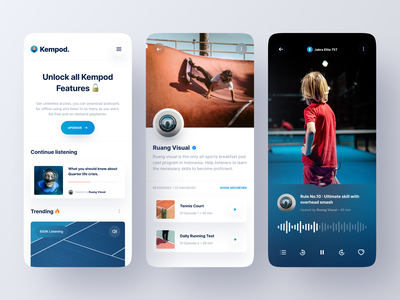 Kempod - Podcast App product design product spotify player sport live streaming podcasts podcasting card music app streaming app podcast clean minimalist minimal ux ui mobile design app