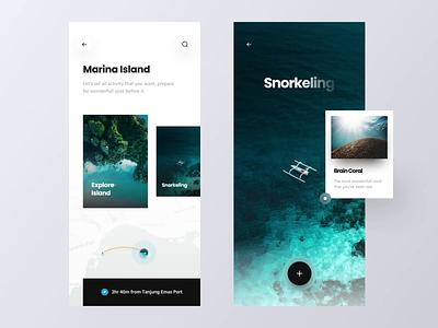 Trip App Exploration yatch island diving coral snorkeling explore adventure travel app tourism app vacation travel trip clean minimalist minimal ux ui mobile design app