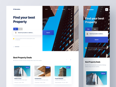 Bancakan - Real Estate Responsive Website appartment house rent sell property real estate brand branding product product design web design responsive landing page web ux ui mobile design app