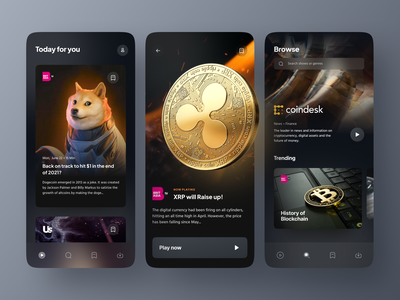 Live Streaming App stream live tv ios news bitcoin xrp doge cryptocurrency video movies streaming app streaming ux ui mobile design app