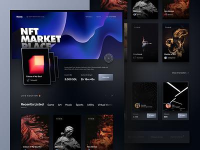 NFT Marketplace dark trade bid auction crypto currency crypto marketplace nft landing page hero web design website product design branding design ux ui