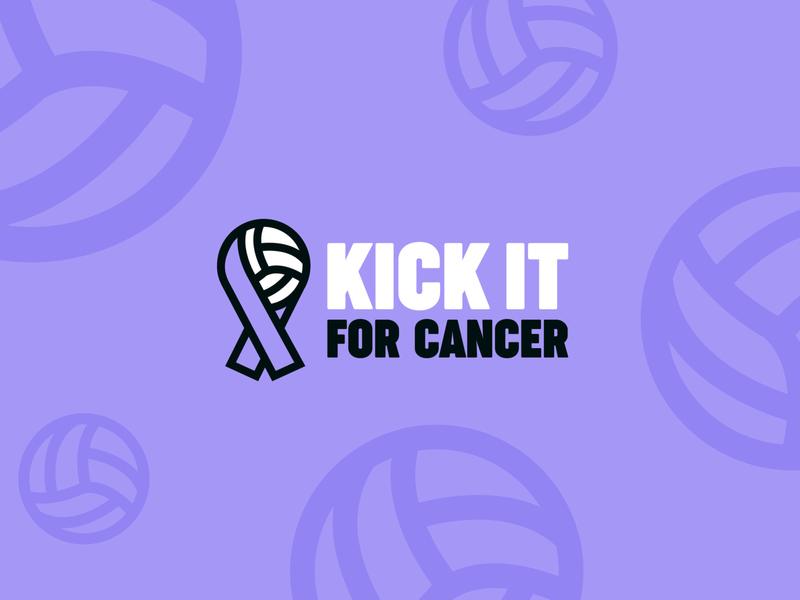 Kick it for Cancer   Branding cancer icon football soccer purple logo branding design